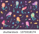 a set of beautiful mermaids.... | Shutterstock .eps vector #1373318174