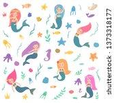 a set of beautiful mermaids.... | Shutterstock .eps vector #1373318177