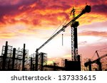 construction site silhouettes | Shutterstock . vector #137333615