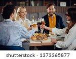 four happy muliethnic freinds... | Shutterstock . vector #1373365877