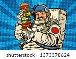 mustachioed astronaut with... | Shutterstock . vector #1373378624