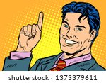 businessman pointing up. pop... | Shutterstock . vector #1373379611