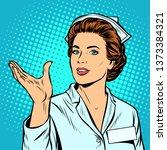nurse holding gesture. pop art...   Shutterstock . vector #1373384321
