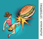 woman kicks burger  fastfood...
