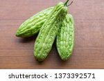 fresh growing bitter gourd or... | Shutterstock . vector #1373392571