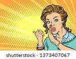 pop art woman talking in secret ... | Shutterstock . vector #1373407067