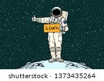astronaut hitch rides on earth. ... | Shutterstock . vector #1373435264