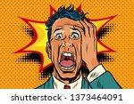 Pop Art Panic Face Man Funny....
