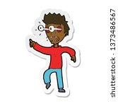 sticker of a cartoon man with... | Shutterstock . vector #1373486567