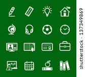 Education Icons with Green Background - stock vector