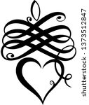 calligraphy heart with... | Shutterstock .eps vector #1373512847
