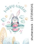 hand drawing fly cute easter... | Shutterstock . vector #1373540141