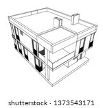 modern house architecture 3d... | Shutterstock .eps vector #1373543171