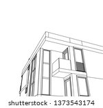 modern house architecture 3d... | Shutterstock .eps vector #1373543174