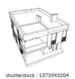 modern house architecture 3d... | Shutterstock .eps vector #1373543204