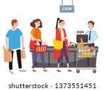 cashier behind the cashier... | Shutterstock .eps vector #1373551451