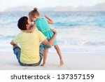 happy father and his sweet... | Shutterstock . vector #137357159