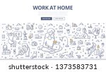 work at home concept. woman... | Shutterstock .eps vector #1373583731