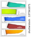 set of banners with torn corners | Shutterstock .eps vector #137361071
