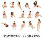 vector women in a bathing suit. ...   Shutterstock .eps vector #1373611907