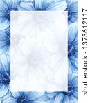 hand drawn watercolor frame or... | Shutterstock . vector #1373612117