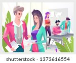 concept in flat style with... | Shutterstock .eps vector #1373616554