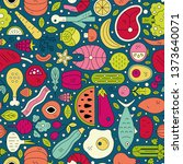 seamless pattern with different ... | Shutterstock .eps vector #1373640071