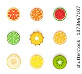 Set Of Tropical Round Fruits In ...