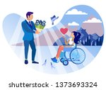 relationship with disabled girl ... | Shutterstock .eps vector #1373693324