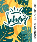 colorful summer poster with... | Shutterstock .eps vector #1373704001