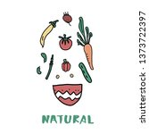 healthy food concept with... | Shutterstock .eps vector #1373722397