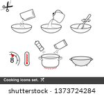 cooking preparation icon set.... | Shutterstock .eps vector #1373724284