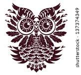 decorative vector owl | Shutterstock .eps vector #137374349