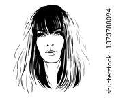 woman portrait. digital sketch... | Shutterstock .eps vector #1373788094