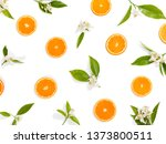 slices of orange fruit and... | Shutterstock . vector #1373800511