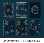 navy wedding invitation  floral ... | Shutterstock .eps vector #1373865161