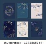 navy wedding invitation  floral ... | Shutterstock .eps vector #1373865164