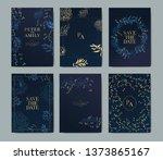 navy wedding invitation  floral ... | Shutterstock .eps vector #1373865167