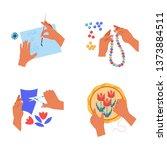hobby and art hands handicraft... | Shutterstock .eps vector #1373884511