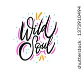 wild soul. hand drawn vector... | Shutterstock .eps vector #1373910494