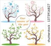 four seasons. illustration of... | Shutterstock .eps vector #1373916827
