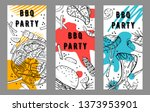 three bbq party  flyers design...   Shutterstock .eps vector #1373953901
