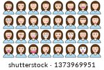 many emotion girl face and pink ... | Shutterstock .eps vector #1373969951