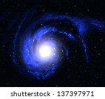 beautiful blue spiral galaxy in ... | Shutterstock . vector #137397971