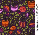 cartoon floral seamless pattern ... | Shutterstock .eps vector #137398655