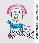 baby print with leopard  wild... | Shutterstock .eps vector #1373987264
