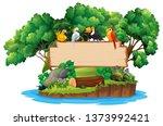 jungle and bird wood sign... | Shutterstock .eps vector #1373992421