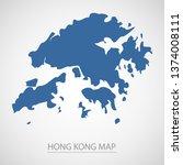 hong kong map. blue hong kong...