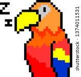 parrot pixels art   Shutterstock .eps vector #1374011531