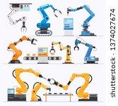 robotic arm industrial. vector... | Shutterstock .eps vector #1374027674